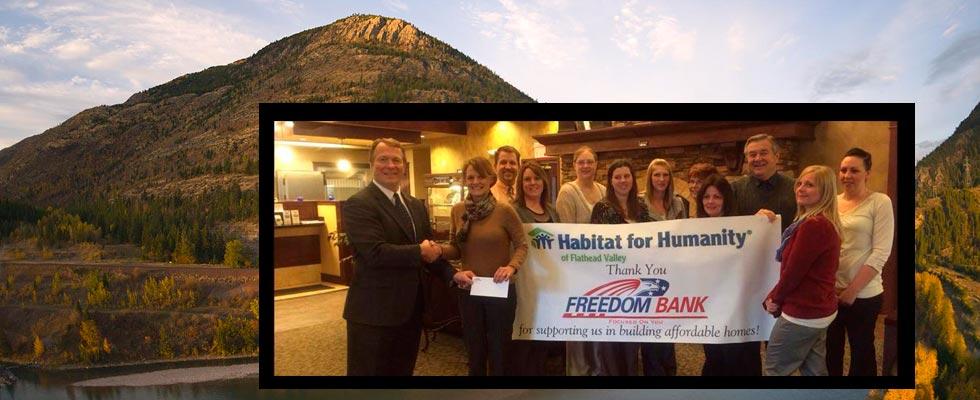 Freedom Bank donates $10,000 to Habitat for Humanity