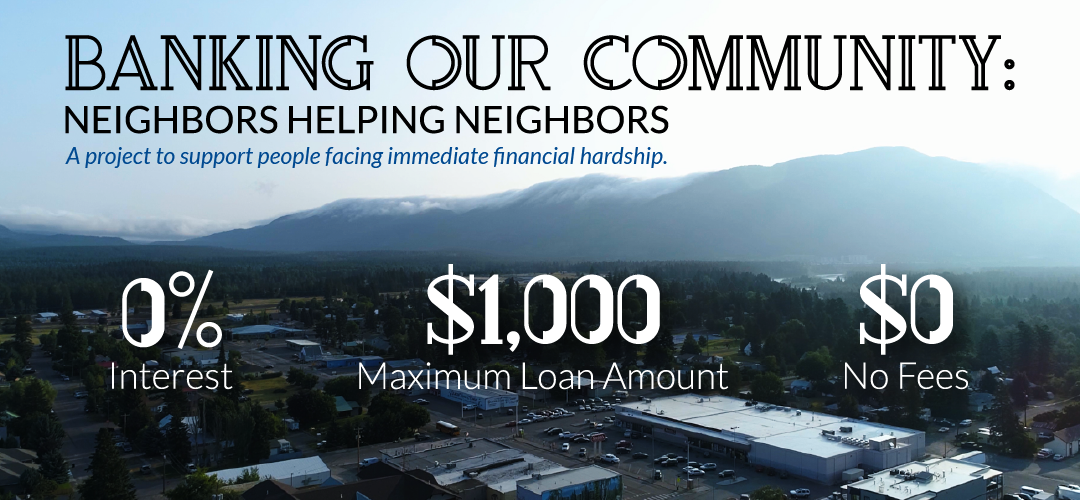 """Aerial Photo of Columbia Falls with text """"Banking Our Community"""""""