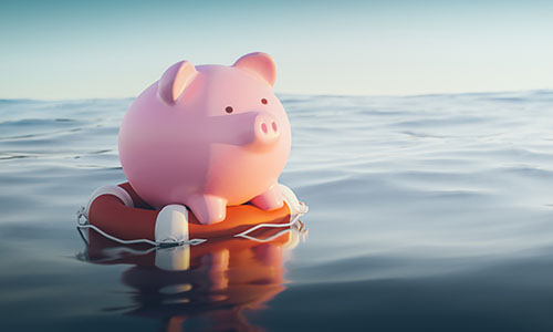 Piggy Bank on Life Preserver