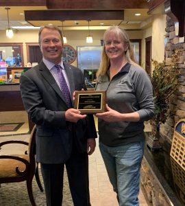 Freedom Bank President Don Bennett with Kelly Hamilton, the winner of the February 2021 Hometown Hero Award.